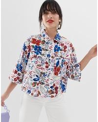 weiße bedruckte Shirtjacke von Essentiel Antwerp