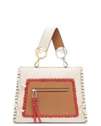 weiße bedruckte Shopper Tasche aus Leder von Fendi