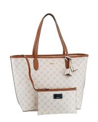 weiße bedruckte Shopper Tasche aus Leder von Joop!