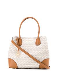 weiße bedruckte Shopper Tasche aus Leder von MICHAEL Michael Kors