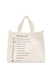 weiße bedruckte Shopper Tasche aus Leder von MM6 MAISON MARGIELA