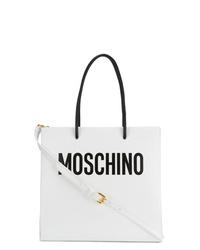weiße bedruckte Shopper Tasche aus Leder von Moschino