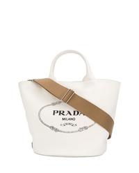 weiße bedruckte Shopper Tasche aus Leder von Prada