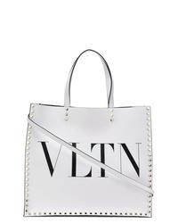 weiße bedruckte Shopper Tasche aus Leder von Valentino