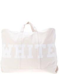 weiße bedruckte Shopper Tasche aus Segeltuch