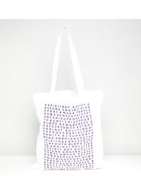 weiße bedruckte Shopper Tasche aus Segeltuch von ASOS DESIGN