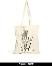weiße bedruckte Shopper Tasche aus Segeltuch von Reclaimed Vintage