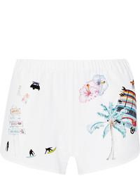 weiße bedruckte Shorts