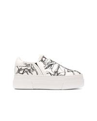 weiße bedruckte Slip-On Sneakers von AGL