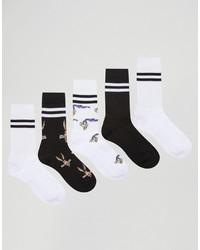 weiße bedruckte Socken von Asos