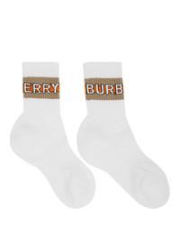 weiße bedruckte Socken von Burberry