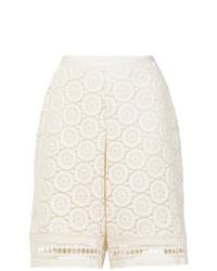 weiße Bermuda-Shorts aus Häkel von See by Chloe
