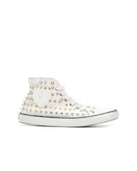 weiße beschlagene hohe Sneakers aus Segeltuch von Saint Laurent