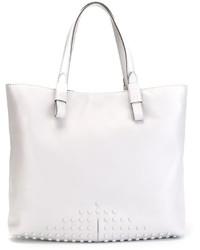 weiße beschlagene Shopper Tasche aus Leder