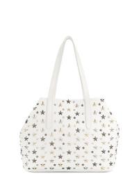 weiße beschlagene Shopper Tasche aus Leder von Jimmy Choo