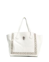 weiße beschlagene Shopper Tasche aus Leder von Philipp Plein