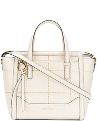 weiße beschlagene Shopper Tasche aus Leder von Salvatore Ferragamo
