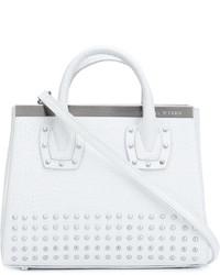 weiße beschlagene Shopper Tasche aus Leder von Thomas Wylde