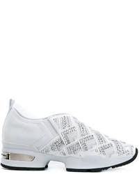 weiße beschlagene Slip-On Sneakers aus Leder von Ermanno Scervino