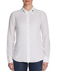 weiße bestickte Bluse mit Knöpfen