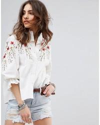 weiße bestickte Bluse von Boohoo