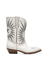 weiße bestickte Cowboystiefel aus Leder von Golden Goose Deluxe Brand