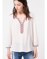 weiße bestickte Folklore Bluse