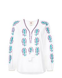weiße bestickte Folklore Bluse von Figue