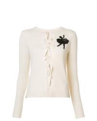 weiße bestickte Strickjacke von Marc Jacobs
