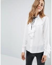 weiße Bluse mit Rüschen von Boohoo