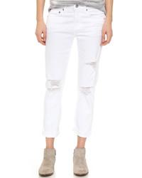 weiße Boyfriend Jeans mit Destroyed-Effekten von AG Jeans