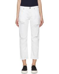 weiße Boyfriend Jeans mit Destroyed-Effekten von Edit