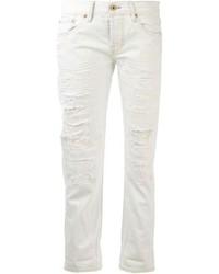 weiße Boyfriend Jeans mit Destroyed-Effekten von NSF