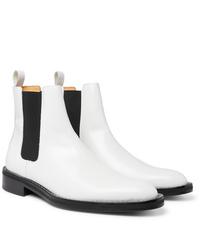 weiße Chelsea Boots aus Leder