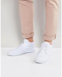 weiße Chukka-Stiefel aus Segeltuch