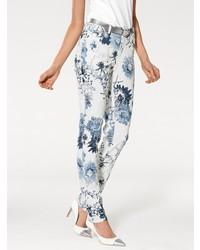 weiße enge Hose mit Blumenmuster von ASHLEY BROOKE by Heine