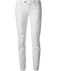 weiße enge Jeans mit Destroyed-Effekten von 7 For All Mankind