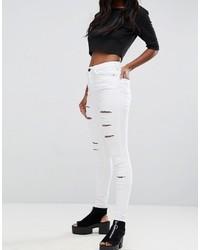 weiße enge Jeans mit Destroyed-Effekten von Asos