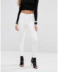 weiße enge Jeans mit Destroyed-Effekten von Boohoo