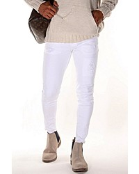 weiße enge Jeans mit Destroyed-Effekten von Bright Jeans