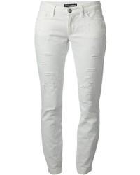 weiße enge Jeans mit Destroyed-Effekten von Dolce & Gabbana