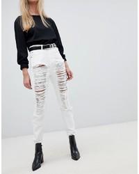 weiße enge Jeans mit Destroyed-Effekten von Dr. Denim