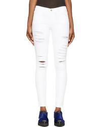 weiße enge Jeans mit Destroyed-Effekten von Frame Denim