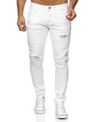 weiße enge Jeans mit Destroyed-Effekten von Redbridge