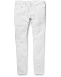 weiße enge Jeans mit Destroyed-Effekten von Saint Laurent