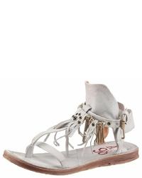 weiße flache Sandalen aus Leder von A.S.98