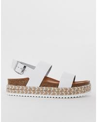 weiße flache Sandalen aus Leder von Aldo