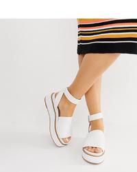 weiße flache Sandalen aus Leder von ASOS DESIGN