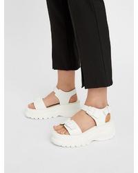 weiße flache Sandalen aus Leder von Bianco