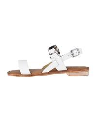 weiße flache Sandalen aus Leder von Emu
